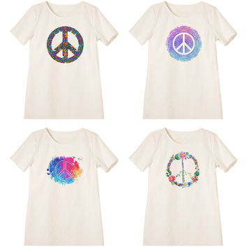 Women Peace Symbols Printed Linen Short Sleeves Vintage Mini Shift Dress WDS_06