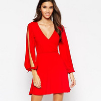 V-Neck Long Sleeve with Split Dress