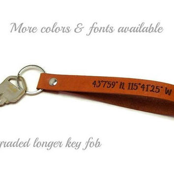 Upgraded Longer Latitude Longitude Key Fob, Custom Coordinates, GPS Key Ring, Laser Engraved Leather Keychain, Personalized Mens Gifts