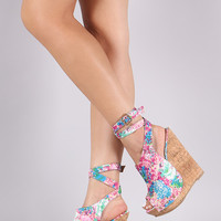 Floral Ankle Strap Studded Cork Platform Wedge
