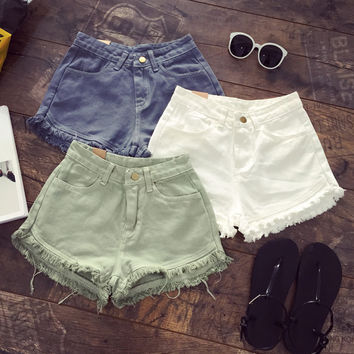 Solid Color Denim Shorts for Women