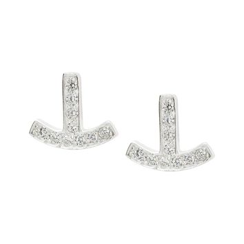 Sterling Silver Anchor Earrings with Brilliant Cubic Zirconia Stones