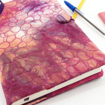 Quilted Journal Slipcover, Moleskine Journal Cover, Fabric Diary - Orange, Magenta Pink and Purple Hand Dyed Cotton