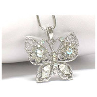 Delicate with Wings Beautiful Clear Crystal Butterfly Necklace