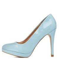 Lt Blue Qupid Mini-Platform Pumps by