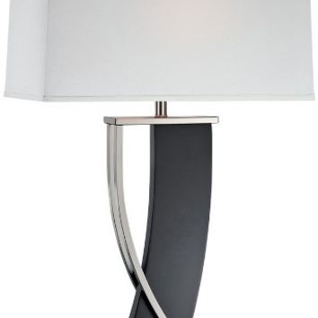 Lite Source LS-21788 Table Lamp with Off White Fabric Shades, Walnut Finish