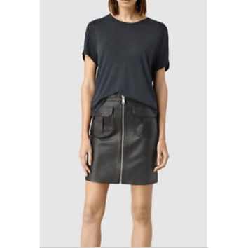 Allsaints Taylor Black Skirt Sheep Leather