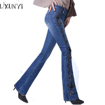jeans Women Embroidery New Arrival 2017 Womens Vintage High Waisted jeans Fashion Flare Pants Slim Thin Denim Trousers Plus Size