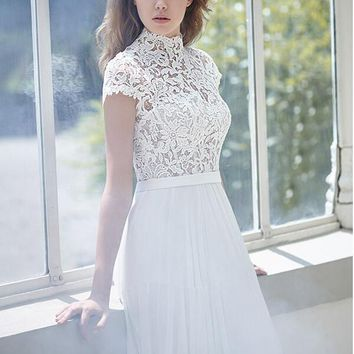 Bridal Gowns 2017 Chiffon White Boho Beach Wedding Dresses with Cap Sleeves High Collar Lace Bodice Mesh Back Sweep Train 2017