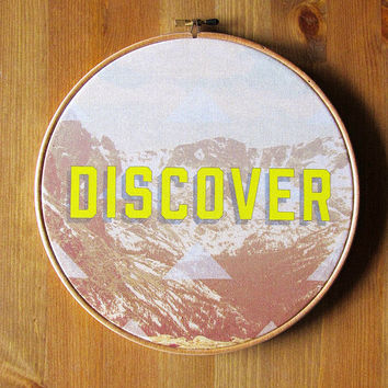 "Discover Circular Hoop Art 9"" Stretched Cotton Canvas Printed Wall Hanging Artwork"