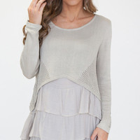 Well Wishes Layered Knit Sweater in Silver