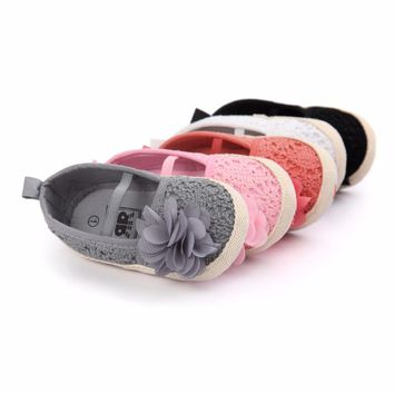 Baby Girls Crocheted Lace Ballet Flats with Flower
