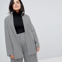 ASOS CURVE Tailored Power Blazer in Dogstooth at asos.com