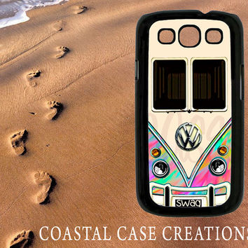 Samsung Galaxy S3 Hard Plastic or Rubber Cell Phone Case Cover Original Colorful Rainbow VW Bus Design