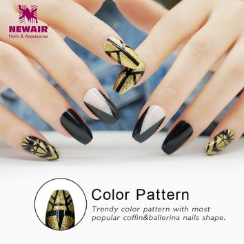 Golden Coffin False Nail with Designs Long Full Cover Ballerinas Fake Nail Tips Artificial Nail Art DIY Women