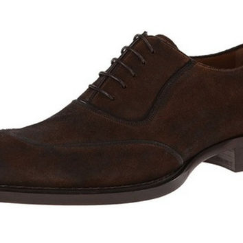 Mezlan Men's Brown Distressed Suede Leather Oxfords
