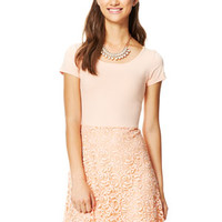 Short-Sleeve Lace Skirt Dress - Peach