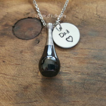 Personalized Cremation Bottle Urn Pendant-Stainless Steel Urn Necklace-Memorial Necklace-Remembrance Necklace-Cremation-Sympathy Gift