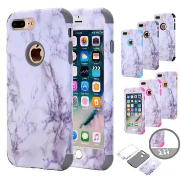 Ultra Slim Marble Pattern Heavy Duty Rubber Shockproof Protective Case Cover For iPhone iPhone 8, 8 Plus, X, 7, 7 Plus, 6s, 6s P