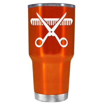 HairStylist Scissor and Comb Silhouette on Translucent Orange 30 oz Tumbler Cup