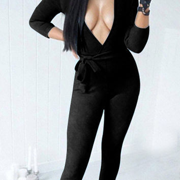 V-Neck Body-con Jumpsuits