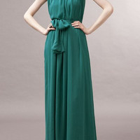 Green Sleeveless Chiffon Maxi Dress
