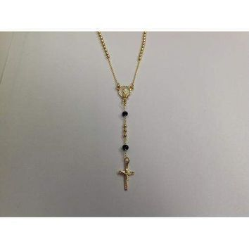 """Gold Electroplated Rosary 18""""-20"""" with Black Beads in a Red Pouch"""