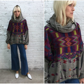 vintage south american tribal print hooded hippy top / ethnic print boho shirt