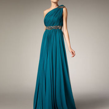 Marchesa Couture Grecian One-Shoulder Gown - Neiman Marcus