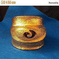 ON SALE Vintage Huge Chunky Wide Gold Bracelet, High End Couture Style Jewelry, Retro Glamour Style Runway Statement Jewelry, 1980's
