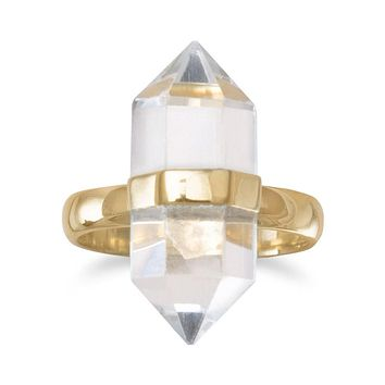 14 Karat Gold Plated Spike Pencil Cut Clear Quartz Ring