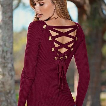 Lace back up detail sweater