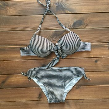 Striped Bikini Swimsuits Push Up