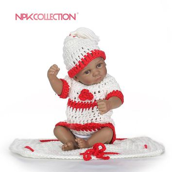 NPKCOLLECTION 25cm Mini Baby Reborn African American Baby Doll Black Girl Full Silicone