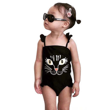 Big Eye Cute Tigar Baby Girls Swimwear Children Bathing Suit