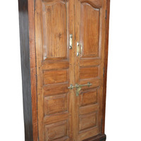 Antique Anglo Indian Cabinet Rustic Teak Wood Armoire Wardrobe Ample Storage Brass latch and handles FARMHOUSE CHIC 18C