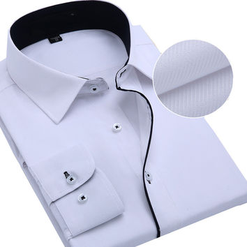 Summer High Quality Twill Male Long-sleeve Slim Shirt Business Casual Formal Men Clothing Qure Shirts