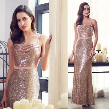 NZBridal Lovely Sparkle A Line Spaghetti Straps Blush Pink Prom Gown