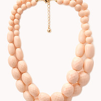 FOREVER 21 Layered Faceted Faux Stone Necklace Peach One