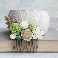 Floral Hair Comb Light Green and Gold Rose Bridal Hair Comb Hair Piece for Bride Hair Accessories Romantic Summer Rustic Garden Wedding