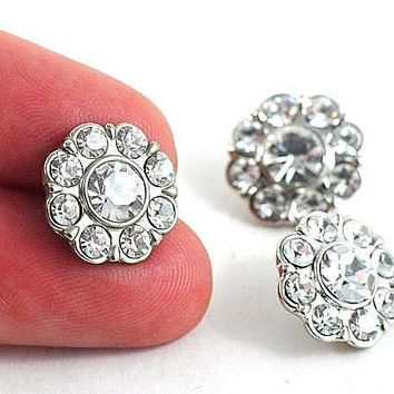 Silver Rhinestone Metal Flower Shank Button 15mm for sewing, knitting, crochet, making Crafts, Gift Wrapping and Costumes by DeeDeeSupplies