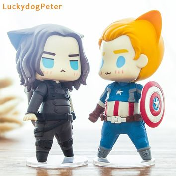 The Avengers Captain America Action Figure 1/10 scale painted figure Cute Ver. Cat cos Captain America Doll PVC ACGN figure Toy