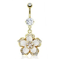 Gold Plated Surgical Steel Navel Belly Button Ring White Epoxy with CZ Hawaiian Flower (Sold Ind.)