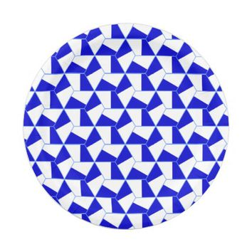Blue and White Hexagon Design Paper Plate