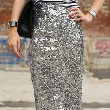 Silver Sequine Bodycon Skirts