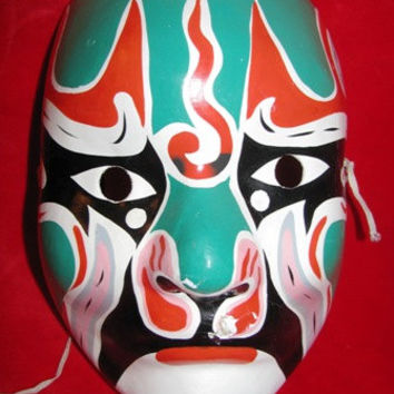 Retro 1980's Tribal Masquerade Mask, Devil Mask, Scary  Halloween Costume Mask, unique 80's vintage relic