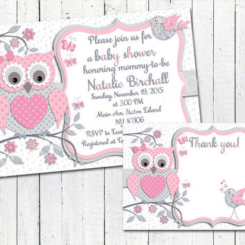 Pink grey owl baby shower printable invitation baby girl digital invite personalized DIY Thank you card birthday