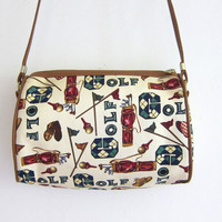 20% OFF SALE Vintage GOLF print crossbody purse. small shoulder bag.