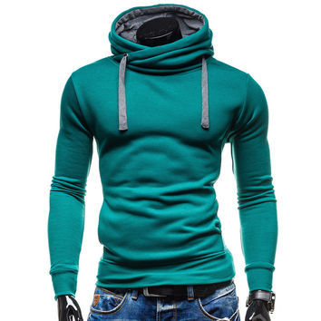 2017 Hoodies Men Sudaderas Hombre Hip Hop Mens Brand Solid Color Turtleneck Pullover  Hoodie Sweatshirt  Slim Fit Men Hoody