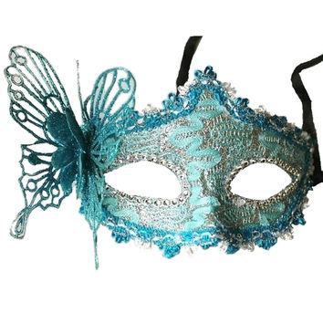 MEOF Sexy Women Lace Mask Venice Venetian Masquerade Ball Party masks Carnival Face Eye (green)